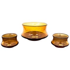 Three Amber Color Glass Bowls