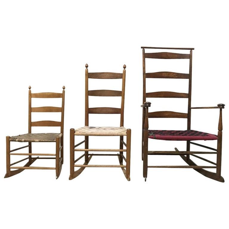Three American Maple Shaker Ladder Back Rocking Chairs