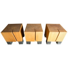 Three American Studio Art Oak and Steel Coffee Tables