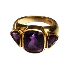 Three Amethysts on Yellow Gold 18 Karat Ring