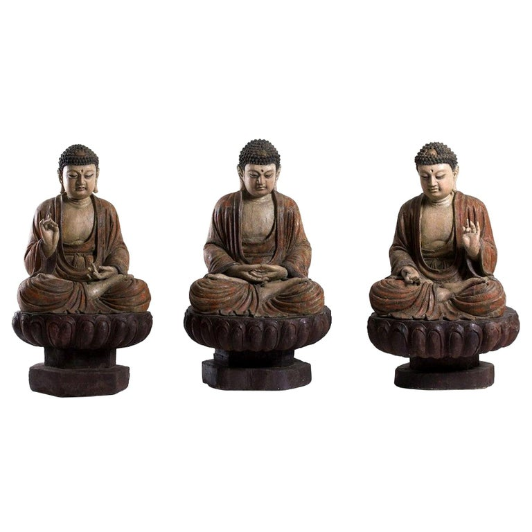 Three Ancient Wooden Buddha Sculptures For Sale