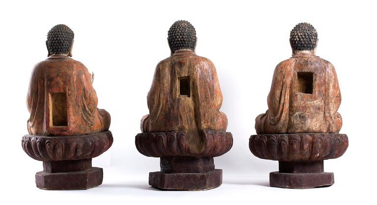 Three Ancient Wooden Buddha Sculptures For Sale 3