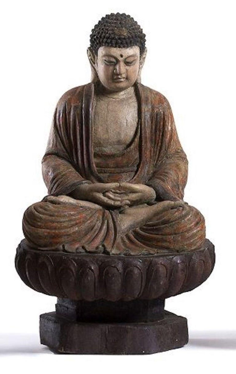 Ming Three Ancient Wooden Buddha Sculptures For Sale