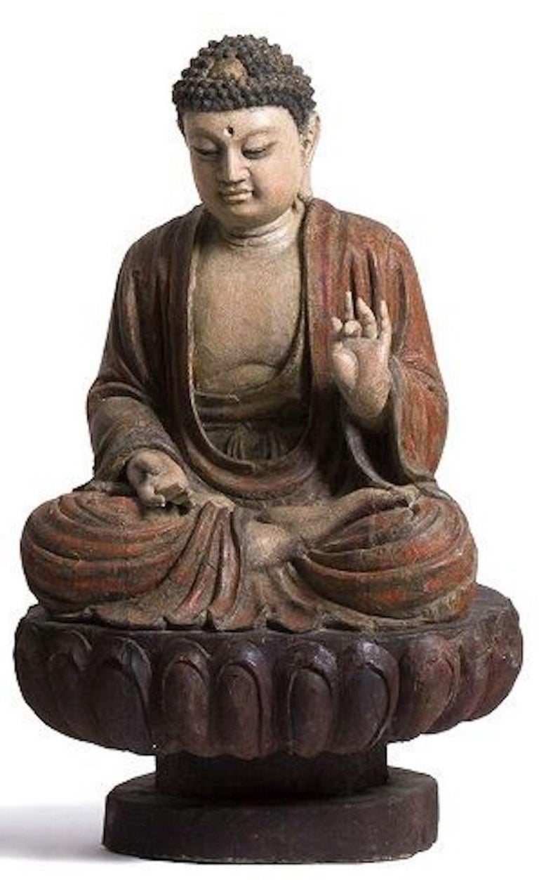 Chinese Three Ancient Wooden Buddha Sculptures For Sale