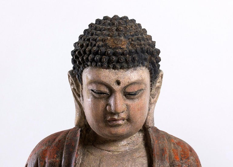 Lacquered Three Ancient Wooden Buddha Sculptures For Sale