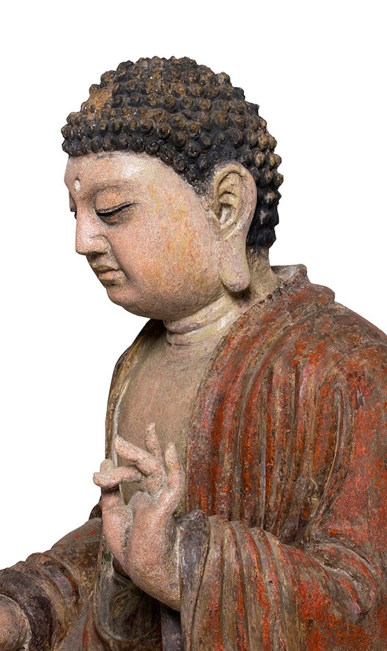 Three Ancient Wooden Buddha Sculptures In Good Condition For Sale In Roma, IT