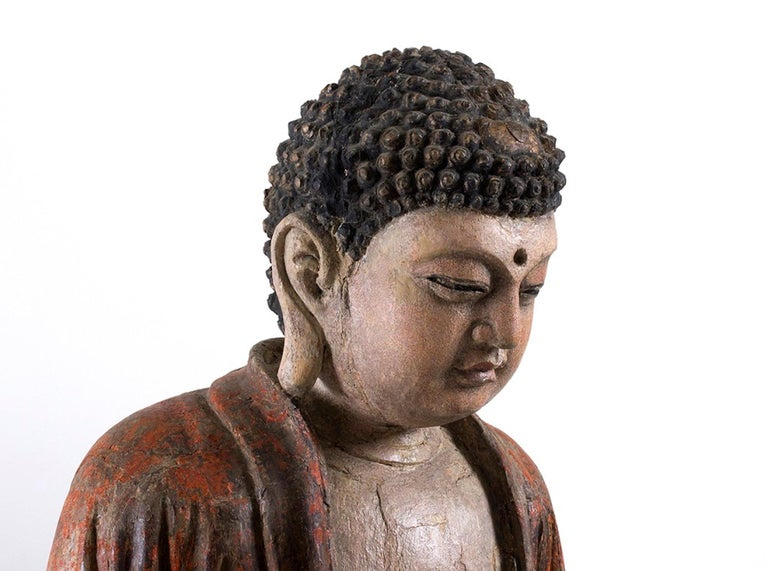 Three Ancient Wooden Buddha Sculptures For Sale 1