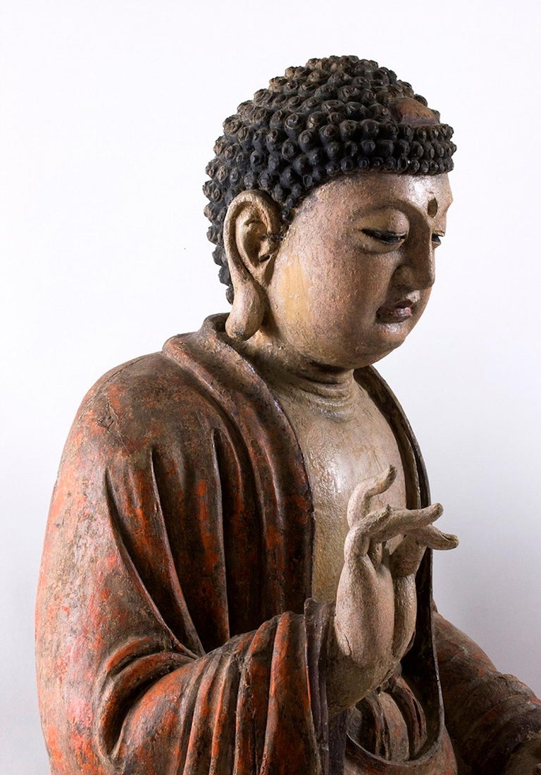 Three Ancient Wooden Buddha Sculptures For Sale 2