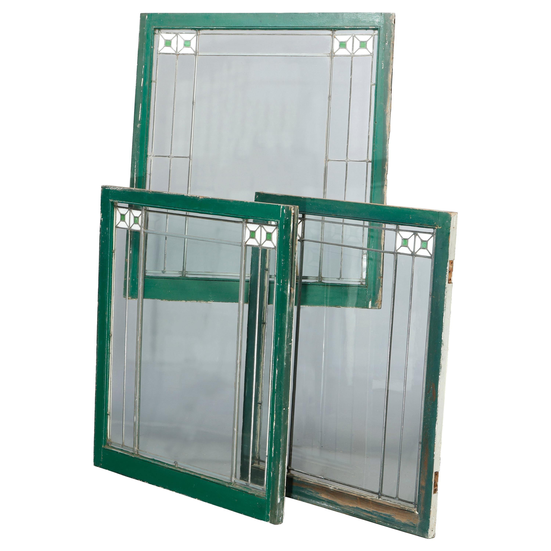 Three Antique Arts & Crafts Frank Lloyd Wright Leaded Glass Windows, c1920