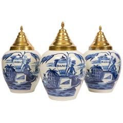 Three Antique Blue and White Delft Tobacco Jars