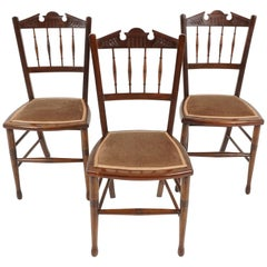 Three Antique Chairs, Walnut Upholstered Bedroom Chairs, Scotland 1900, B2227