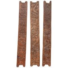 Three Antique Folk Art Carved Wood Panels