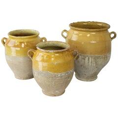 Three Antique French Confit Pots
