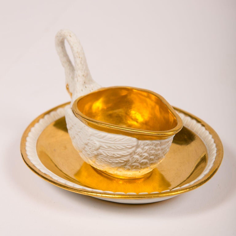 Three Antique French White and Gold Swans For Sale 4