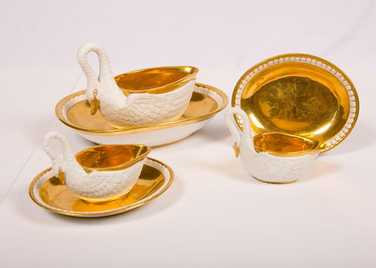 19th Century Three Antique French White and Gold Swans For Sale