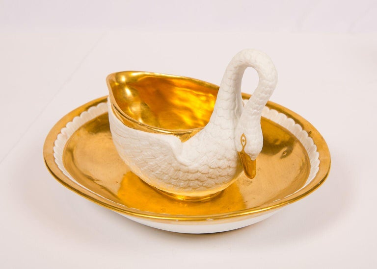 Porcelain Three Antique French White and Gold Swans For Sale