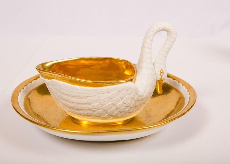 Three Antique French White and Gold Swans For Sale 2