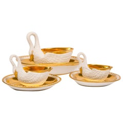 Three Antique French White and Gold Swans, Mid 19th Century