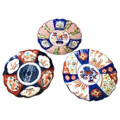 Three Antique Imari Japanese Plates