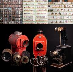 Three Antique Magic Lantern Lamp Slide Projectors and Glass Slides