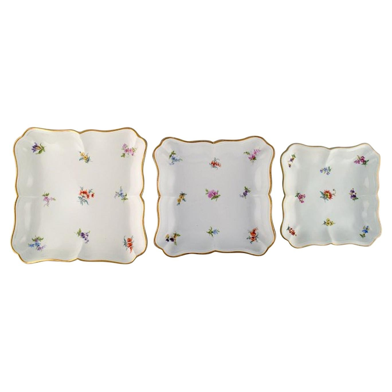 Three Antique Meissen Dishes in Hand-Painted Porcelain with Flowers