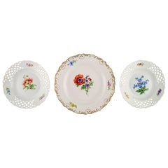 Three Antique Meissen Plates in Hand-Painted Porcelain with Floral Motifs