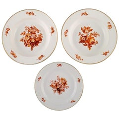 Three Antique Meissen Porcelain Plates with Orange Hand Painted Flowers