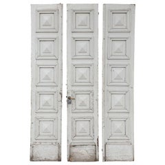 Three Antique Painted French Doors