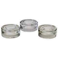 Three Antonio Da Ros Italian Murano Clear Sommerso Glass Bowl, Dish or Ashtrays