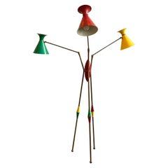 Three Arm Enamel Stillnovo Floor Lamp in Brass and Enamel