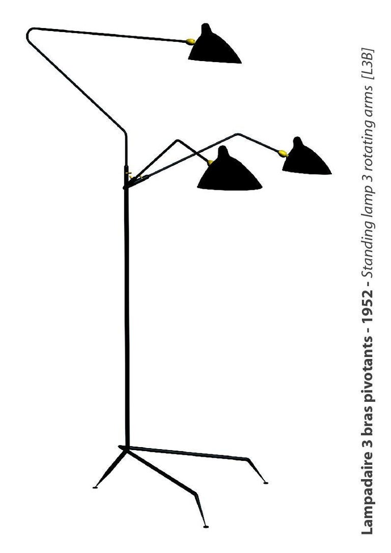 Contemporary Three-Arm Floor Lamp by Serge Mouille For Sale