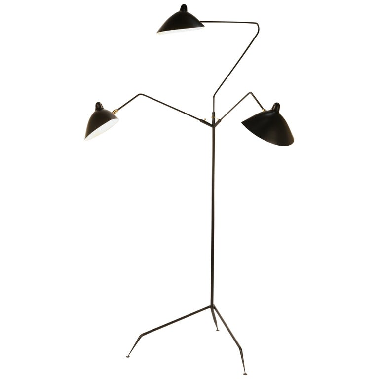 Three-Arm Floor Lamp by Serge Mouille For Sale