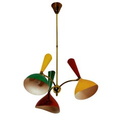 Mid-Century Italian Chandelier three-arm with metal diabolò shades by Stilnovo,