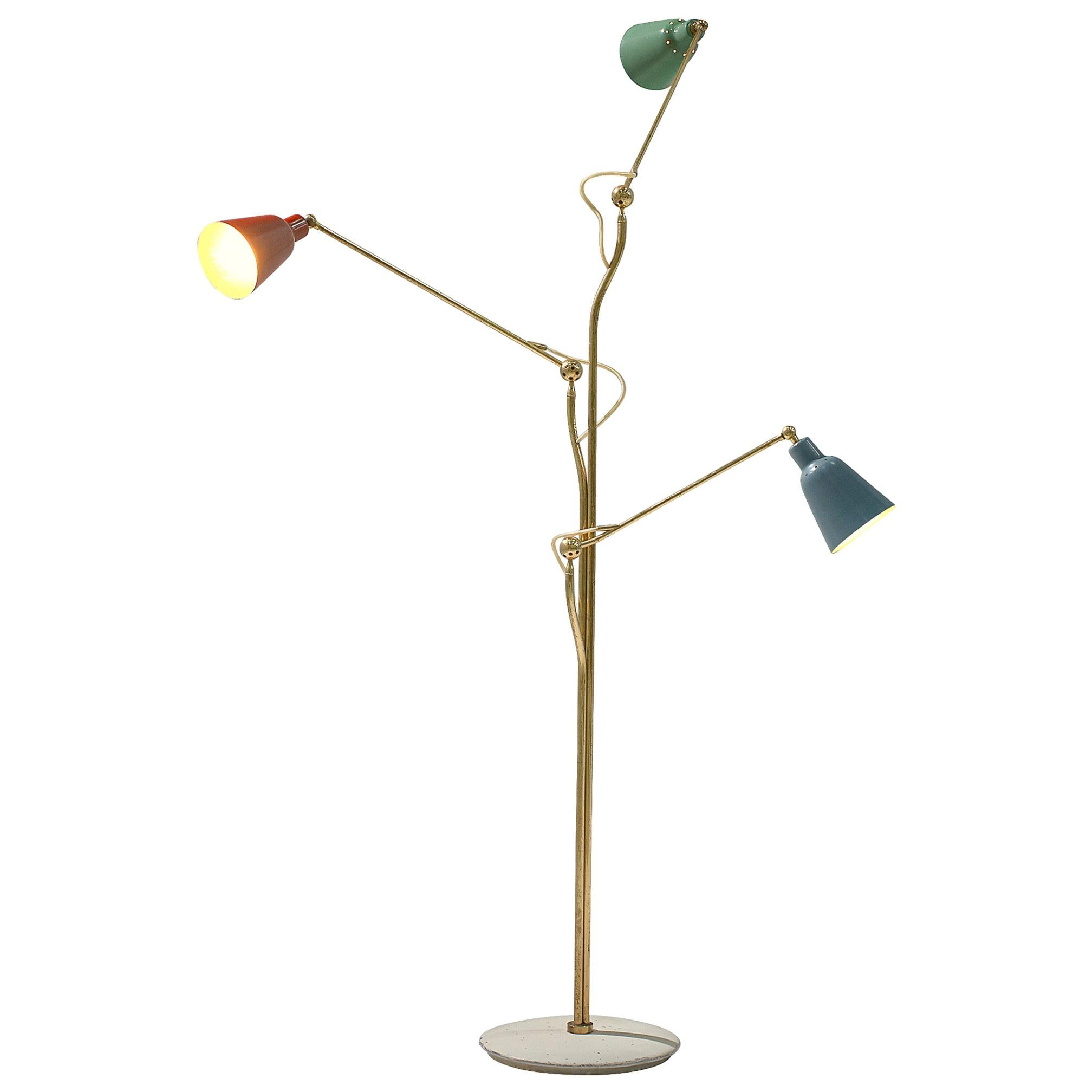Three-Armed Floor Lamp by Angelo Lelii for Arredoluce