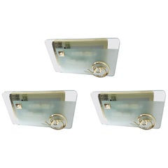 Three Art Deco Beveled Sconces / Flushmounts by Fratelli Martini