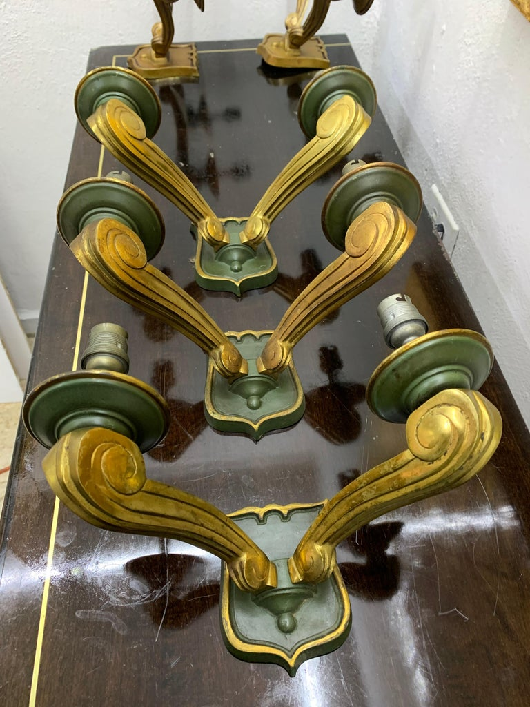 Three Art Deco bronze Sconces by Jules Leleu France, circa 1940 For Sale 6