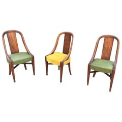 Three Art Deco Chairs, in Wood Painted Faux Wood Decor, circa 1925