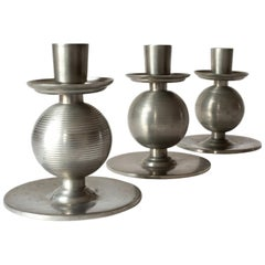 Three Art Deco Pewter Candlesticks Signed by Nils Fougstedt and Made 1937