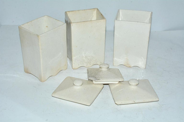American Three Art Deco Pottery Canisters For Sale