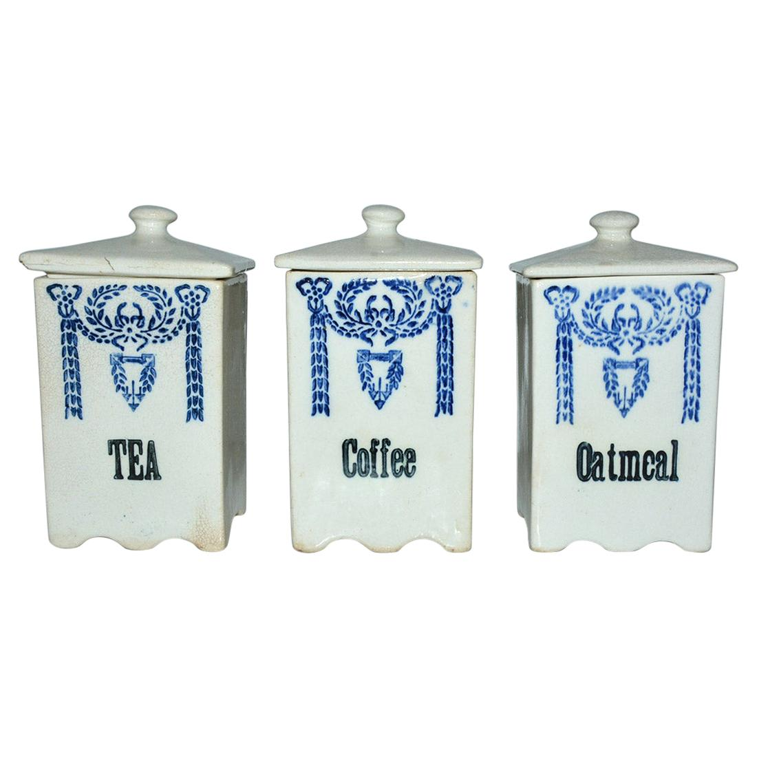 Three Art Deco Pottery Canisters