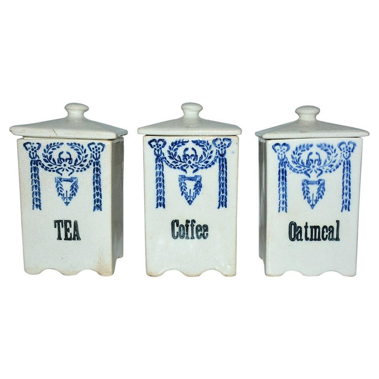 Three Art Deco Pottery Canisters For Sale