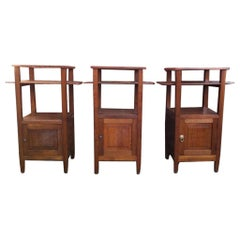 Three Arts & Crafts Oak Bedside Cabinets with Marble Tops and Extending Shelves