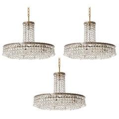 Three Bakalowits Chandeliers Pendant Lights No. 3330, Brass Nickel Glass, 1960s
