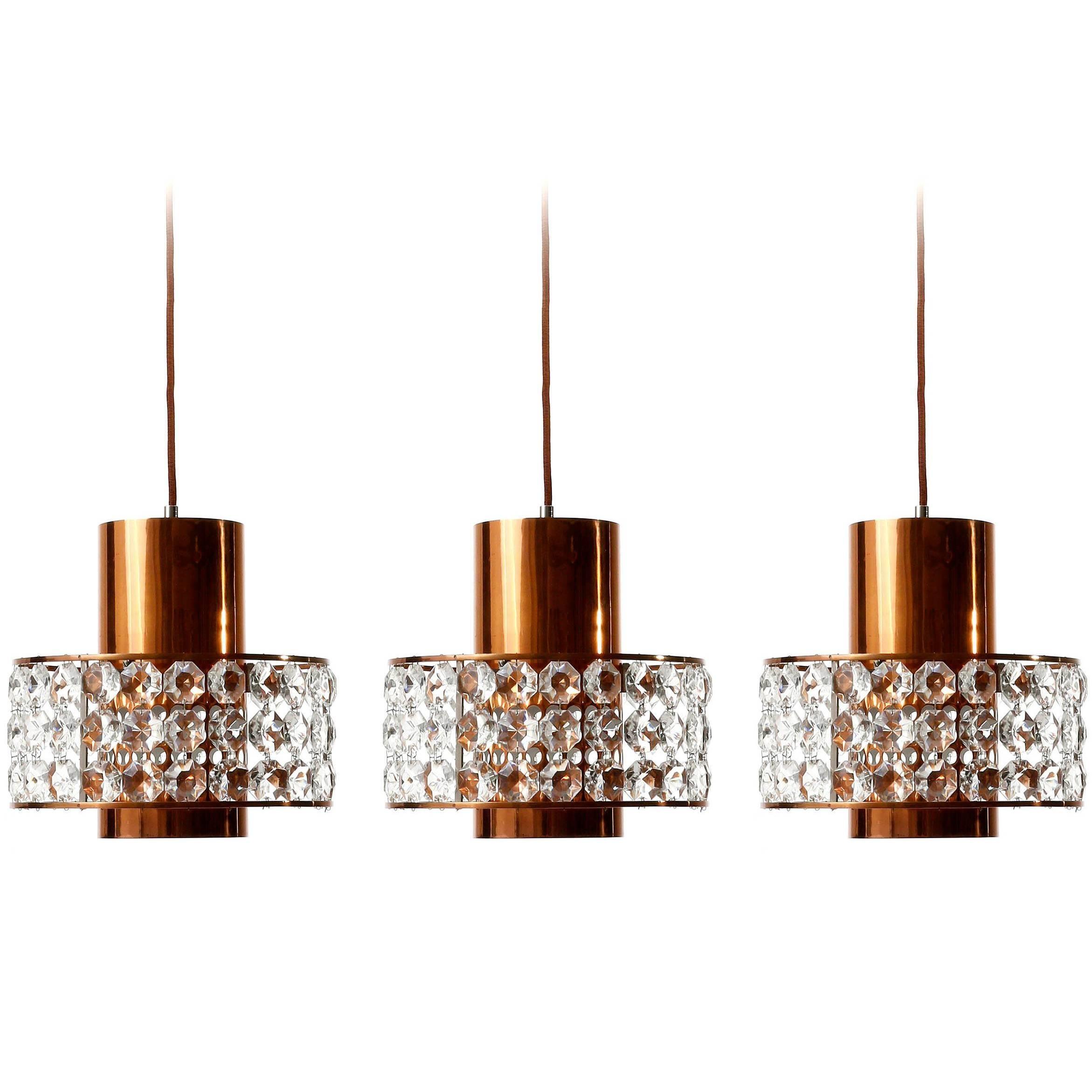 Three Bakalowits Pendant Lights Lanterns, Copper Nickel Crystal Glass, 1960s