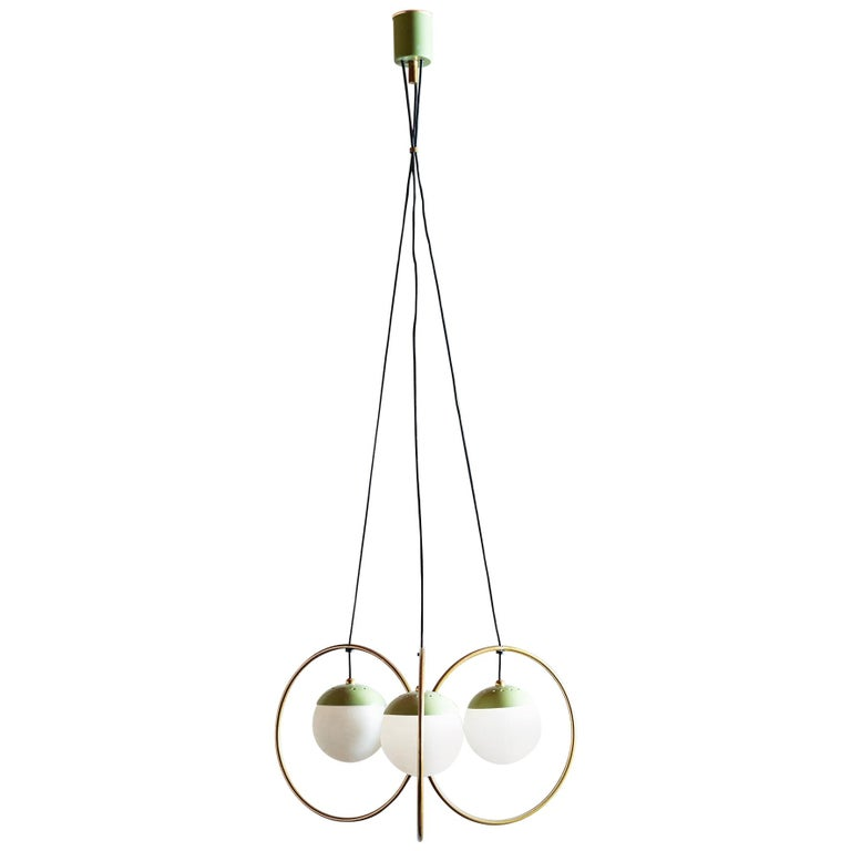 Three Ball Chandelier with Green Accents, Italy, 1950s For Sale