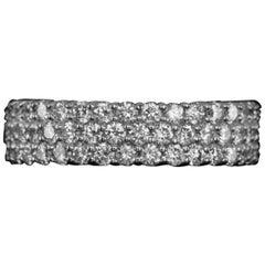 Three-Band 1.24 Carat White Diamond Band Ring