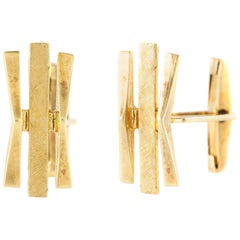 Three Bar Gold Cufflinks