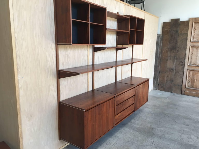 Mid-Century Modern Three Bay Floating Wall Unit by Barzilay For Sale