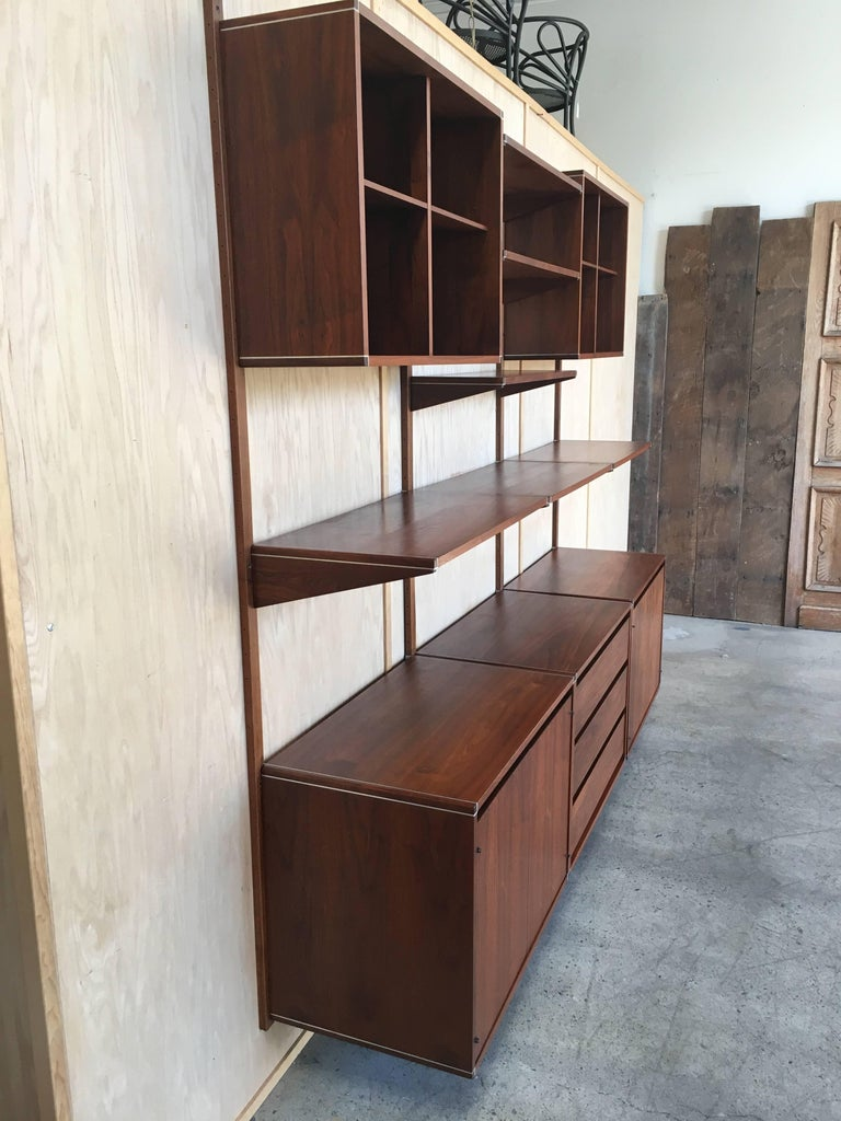 Three Bay Floating Wall Unit by Barzilay In Good Condition For Sale In Laguna Hills, CA