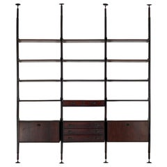 Three Bay Wooden Bookcase Italian Design 1970s